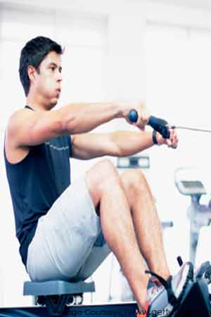 A man exercising in gym
