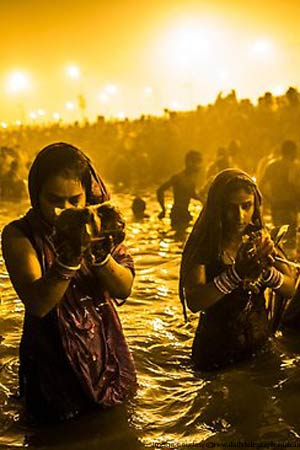 Taking Dips during Kumbhamela Healthy