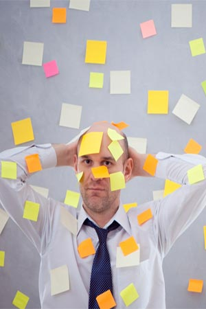 a person with post it notes