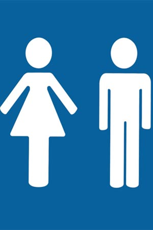 blue coloured toilet sign