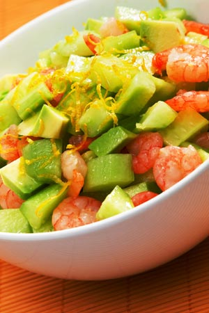 Shrimp served with avocado and cucumber