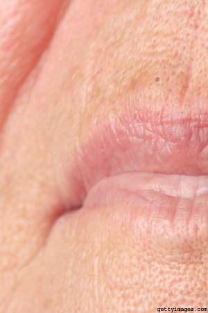 Woman's wrinkled lips