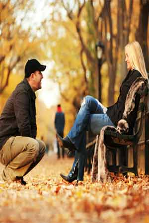 couple in a park during autumn