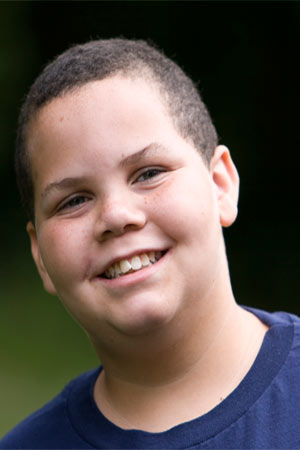 smiling obese teen
