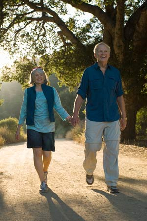 A senior couple taking a walk