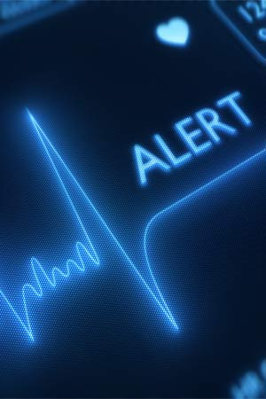 Alert sign on heart monitor