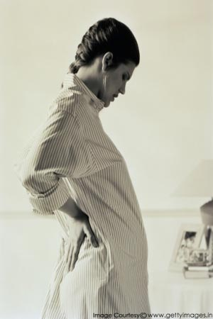 A pregnant woman with back pain