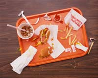 Messy Tray With Eaten fast food