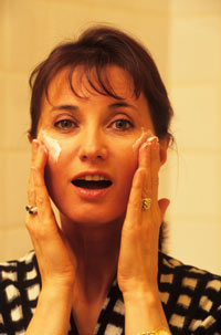 Woman Applying a cream